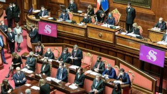 Aula del Senato durante la fiducia a Draghi